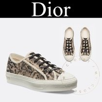 Christian Dior Flower Patterns Rubber Sole Lace-up Casual Style