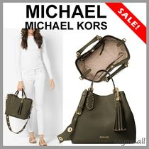Michael Kors BROOKLYN Tassel A4 2WAY Plain Leather Office Style Totes