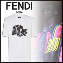 FENDI Crew Neck Street Style Plain Cotton Short Sleeves Oversized