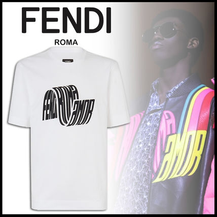 FENDI Crew Neck Crew Neck Street Style Plain Cotton Short Sleeves Oversized