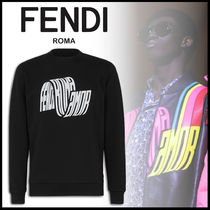 FENDI Crew Neck Pullovers Street Style Long Sleeves Plain Cotton