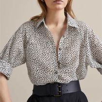 Massimo Dutti Leopard Patterns Casual Style Silk Long Sleeves