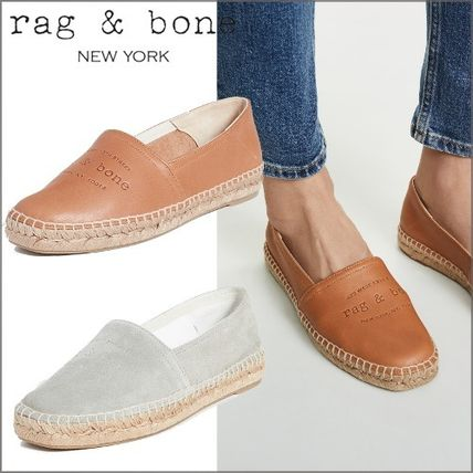 Round Toe Rubber Sole Casual Style Plain Leather Flats