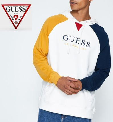 Guess Hoodies Pullovers Long Sleeves Cotton Hoodies