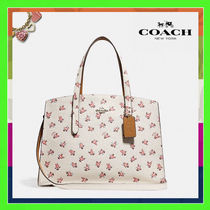 Coach CHARLIE Flower Patterns 2WAY Leather Handbags