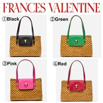 FRANCIS VALENTINE Blended Fabrics Plain Leather Straw Bags