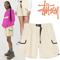 STUSSY Short Casual Style Plain Cotton Khaki Denim & Cotton Shorts