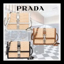 PRADA ELEKTRA Studded Plain Leather Shoulder Bags
