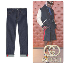 GUCCI Tapered Pants Stripes Denim Street Style Jeans & Denim