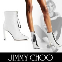 Jimmy Choo Square Toe Bi-color Other Animal Patterns Leather Pin Heels