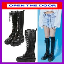 OPEN THE DOOR Casual Style Street Style Plain Mid Heel Boots