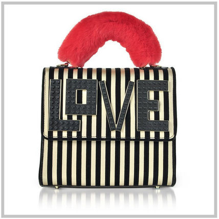 Stripes Casual Style Calfskin Blended Fabrics Street Style