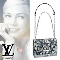 Louis Vuitton TWIST Flower Patterns Blended Fabrics 2WAY Chain Leather