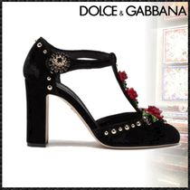Dolce & Gabbana Flower Patterns Round Toe Sheepskin Studded Block Heels