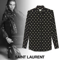 Saint Laurent Dots Silk Long Sleeves Shirts & Blouses