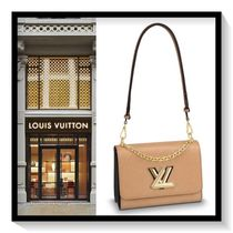 Louis Vuitton Blended Fabrics 2WAY Chain Plain Leather Elegant Style