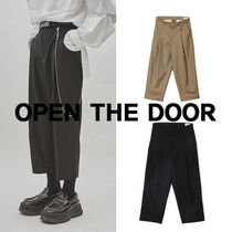 OPEN THE DOOR Unisex Plain Oversized Cropped Pants