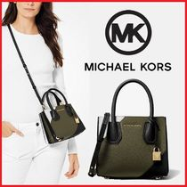 Michael Kors MERCER Plain Leather Shoulder Bags
