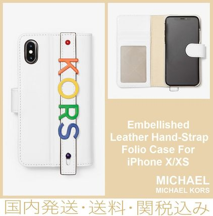 classic fit e68bd 842e5 Michael Kors 【SALE】Embellished Leather Hand-Strap Folio Case For iPhone X