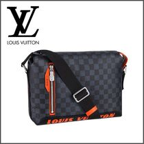 Louis Vuitton DAMIER COBALT Other Check Patterns Canvas Street Style A4 2WAY Backpacks