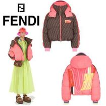 FENDI Short Monogram Street Style Oversized Down Jackets