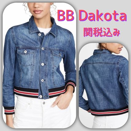 Short Stripes Casual Style Denim Jackets