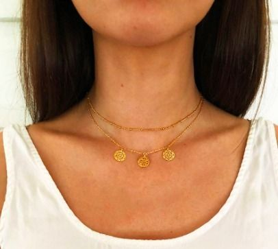 Casual Style Coin Handmade 18K Gold Necklaces & Pendants