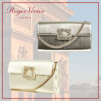 Roger Vivier 3WAY Chain Plain Leather Party Style With Jewels Clutches