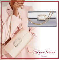Roger Vivier 3WAY Chain Plain Party Style With Jewels Clutches