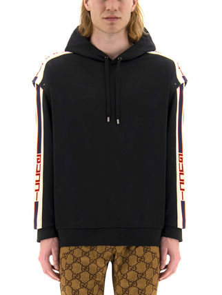 GUCCI Hoodies Pullovers Unisex Sweat Long Sleeves Logos on the Sleeves 4