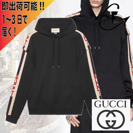 GUCCI Hoodies Pullovers Unisex Sweat Long Sleeves Logos on the Sleeves