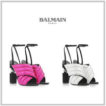 BALMAIN Open Toe Casual Style Plain Leather Block Heels