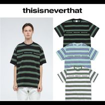 thisisneverthat Pullovers Stripes Street Style Cotton Short Sleeves T-Shirts