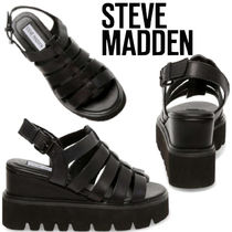 Steve Madden Wedge Open Toe Casual Style Plain Leather Sport Sandals