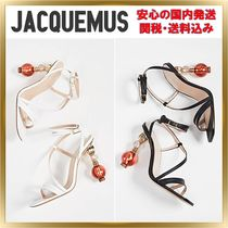 JACQUEMUS Open Toe Lace-up Blended Fabrics Plain Leather Pin Heels