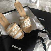 CHANEL Blended Fabrics Block Heels PVC Clothing Elegant Style