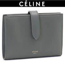 CELINE Unisex Plain Leather Folding Wallets
