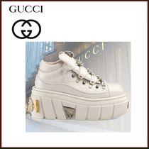 GUCCI Platform Casual Style Studded Street Style Plain Leather