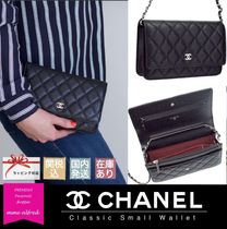 CHANEL CHAIN WALLET Chain Plain Leather Accessories