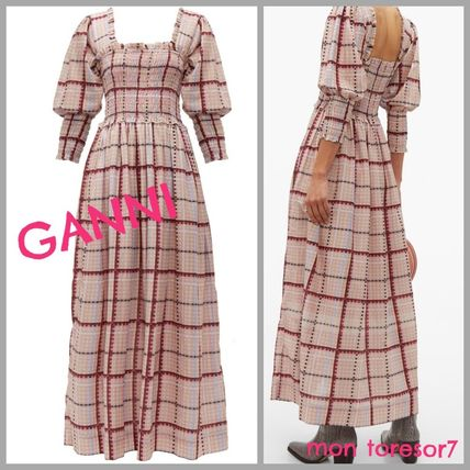 Tartan Cotton Long Elegant Style Puff Sleeves Dresses