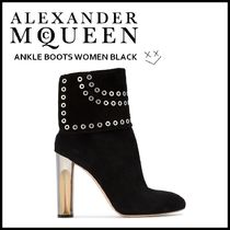 alexander mcqueen Suede Studded Plain Elegant Style Ankle & Booties Boots