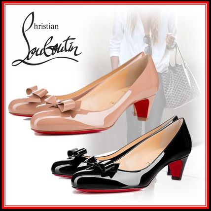 sneakers for cheap effe5 dd8f5 Christian Louboutin 2019-20AW Round Toe Elegant Style Kitten Heel Pumps &  Mules (3150667PK1A, 3150667BK01)