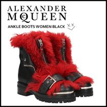 alexander mcqueen Studded Plain Leather Elegant Style Ankle & Booties Boots