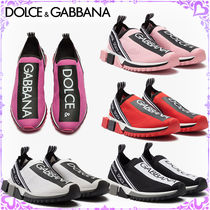 Dolce & Gabbana Round Toe Rubber Sole Casual Style Low-Top Sneakers