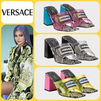 VERSACE Square Toe Other Animal Patterns Leather Block Heels