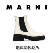 MARNI Square Toe Platform Blended Fabrics Bi-color Plain Leather