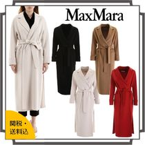 MaxMara Wool Plain Long Midi Elegant Style Wrap Coats