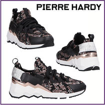 Pierre Hardy Flower Patterns Round Toe Rubber Sole Lace-up Leather