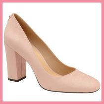 Lipsy Round Toe Plain Leather Party Style Chunky Heels