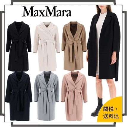 Wool Plain Medium Midi Oversized Elegant Style Wrap Coats